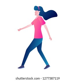 daily activity a woman walking around. daily outfit fashion vector flat design illustration