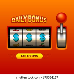 """Daily bonus"" slots 3d widget illustration. Eps10 vector."