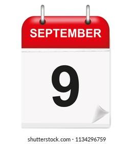 Daily calendar of single-leaf rings, red spine, 3d,september,9th,ninth,vector,illustration