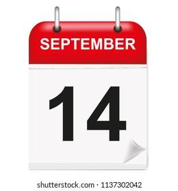 Daily calendar of single-leaf rings, red spine, 3d,september,14,14th,fourteenth.Vector illustration