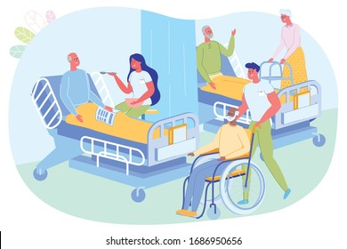 Daily Care for Elderly Patients Clinic, Cartoon. Hospital Workers are in Ward Patients. Girl Sits on Bed Elderly Man and Feeds him with Spoon. Guy Take Patient in Wheelchair to his Place.