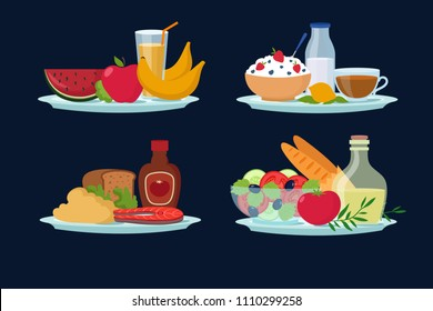 Daily diet meals, healthy food for breakfast, lunch, dinner cartoon vector icons. Healthy meal with vegetable and fruits illustration