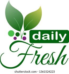 Daily Fresh Products Logo Design, Leaves with Letters Badge Sticker