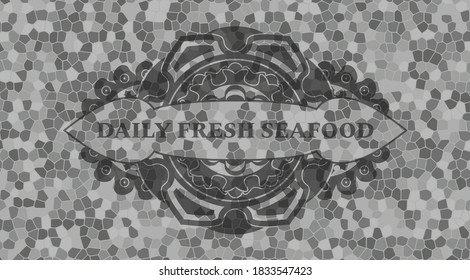 Daily Fresh Seafood text inside grey color stone wall emblem. Rock exquisite background. Vector illustration.