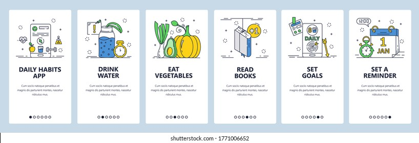 Daily habits website and mobile app onboarding screens. Menu banner vector template for web site and application development. Set reminder, goals and form healthy habits eat vegetables, drink water.