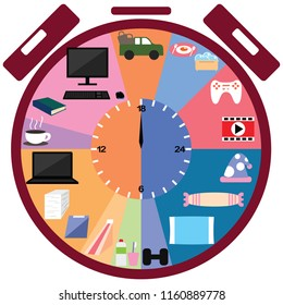 Daily life clock. Vector illustration use for your website, presentation.