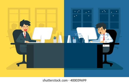 Daily life of tired businessman at work | Exhausted office worker on his desk.