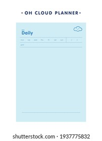 Daily memo planner (Blue Cloud). Retro planner Bullet journal memo pad. Clear and simple printable to do list. Realistic vector illustration.