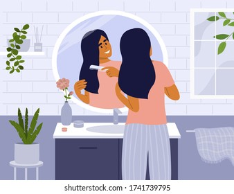 Daily morning routine. Cute girl standing in front of bathroom mirror combing hair. Woman making hairstyle by comb. Beauty care. Smiling lady looking at her reflection. Lifestyle vector illustration.