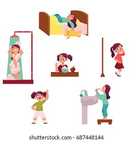 Daily morning routine, little girl sleeping, taking shower, eating, dressing, doing exercises, brushing teeth, cartoon vector illustration isolated on white background. Daily morning routine set