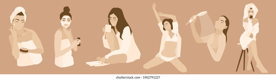 Daily morning woman rituals illustration vector set. Applying cream face mask, reading, shower, waking up, drink coffee. every day routine. Fancy morning. Cosmetics commercial towel underwear bathrobe