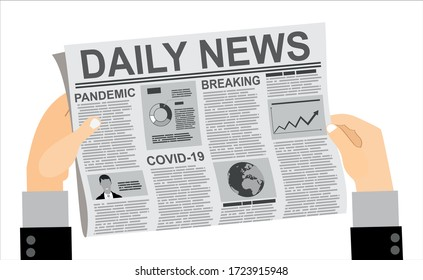 Daily news. Business man hands close up of print newspaper with breaking news about coronavirus and global pandemic Covid-19. Vector illustration.