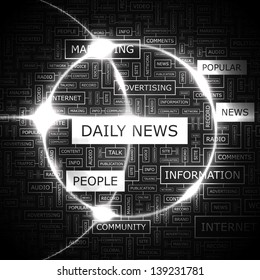 DAILY NEWS. Word cloud concept illustration.