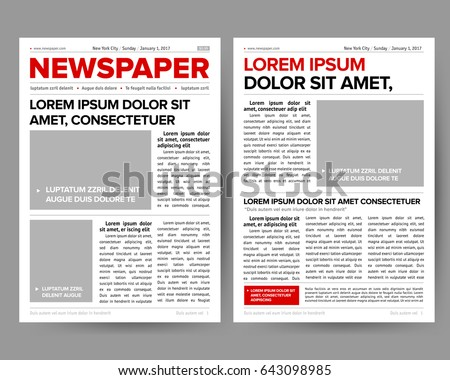 Daily Newspaper Journal Design Template Twopage Stock Vector