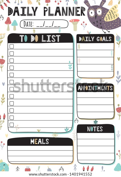 graphic about Free Owl Printable Template titled Everyday Planner Adorable Owl Printable Template Inventory Vector