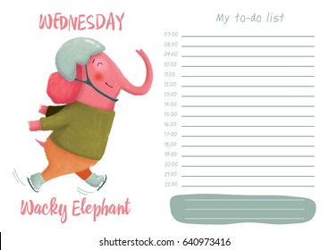 Daily planner with illustration of cute cartoon wacky elephant. My day to-do list on Wednesday. Funny week.