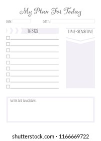 Daily Planner Page, Goal Setting, Checklist, Daily Reminders, To-Do List, Daily Tasks, Time-Sensitive