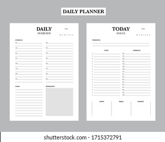 Daily planner printable template Vector. Blank white notebook page. Business organizer schedule page for a day for effective planning. Paper sheet. Simple Clear Vector illustration design.