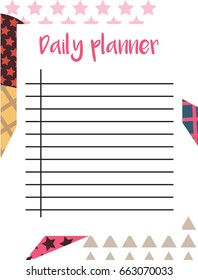 Daily Planner in Scandinavian Style with Ice-cream Pattern. Perfect for Print, Template, to do list. Vector isolated illustration