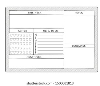 Daily planner template. Blank white page isolated on gray. Case Control Page. Vector