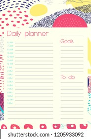 Daily Planner Template. Organiser and Schedule with place for Notes and Goals. Vector.