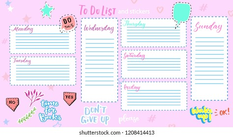 Daily Planner Template. Organiser and Schedule with place for Notes and Goals/ Clip art, collection of daily planner, weekly planner, sticker