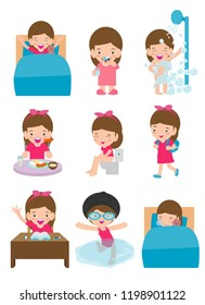 daily routine activities for kids with cute girl,routines for kids, daily routine of child, Little children daily activities, Daily Routine set with cute kids Vector Illustration on white background