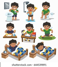 The daily routine of African american boy on a white background. [sleep, wake up, eat, sitting on the toilet, running, brush teeth, take a shower and reading ]