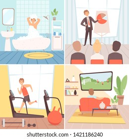 Daily routine background. Busy businessman everyday lifestyle morning afternoon evening night vector cartoon background. Illustration of employee workday, morning daily, everyday routine