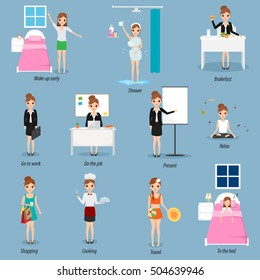 Daily routine of business people character. Woman life style.