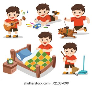 The daily routine of A cute boy on a white background.Isolated vector. [Make a bed, Do homework , Drawing, Play guitar, Run with his dog, Clean]