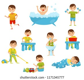 Daily routine of cute boy set, kids activity, boy doing sports, taking bath, having breakfast, reading book, playing, sleeping vector Illustration on a white background