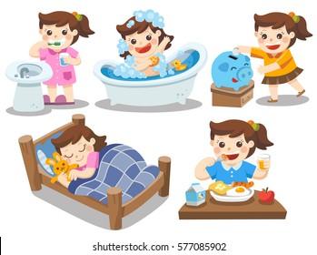 The daily routine of a cute girl on a white background. [sleep, brush teeth, take a bath, eat, saving money]