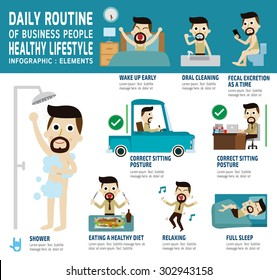 daily routine of happy business people. 