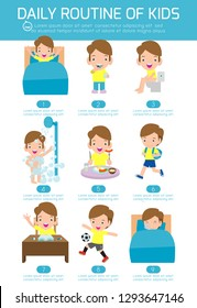 daily routine of happy kids. infographic element. Health and hygiene, daily routines for children, Vector Illustration.
