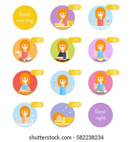 Daily routine for kids. Vector flat illustration.