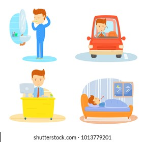 Daily routine of one business man, Brushing teeth in morning, Driving car go to workplace, Working in office, Sleeping in bedroom at night, Stylized cartoon character, Businessman daily routine