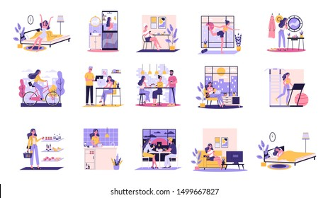 Daily routine of a woman set. Girl having breakfast in the morning, work and sleep. Businessman schedule. Working in office on computer. Isolated vector illustration in cartoon style