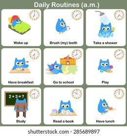 Daily Routines at a.m. sheet.  - Worksheet for education