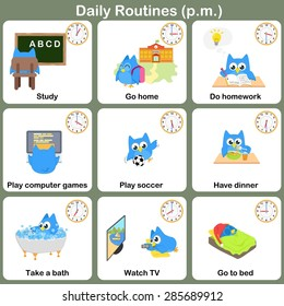 Daily Routines at p.m. sheet.  - Worksheet for education
