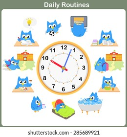 Daily Routines sheet.  - Worksheet for education