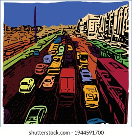 A daily scene of street traffic jam in big busy city.