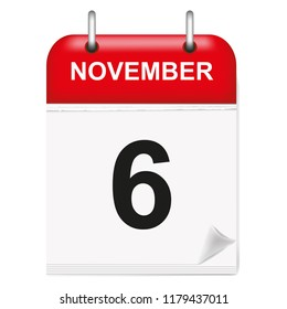 Daily single-leaf calendar, red spine, 3d, month of November,sixth, 6,6th.Vector illustration