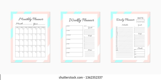 Daily,  weekly and monthly planner templates. Blank white, pink and blue planner pages isolated on white. Business organizer page. Time-management concept. Stationery vector illustration.