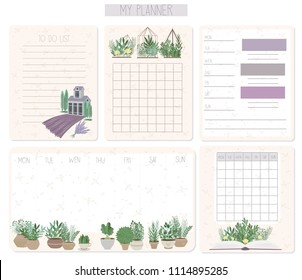 Daily and weekly planner collection in Provence style with lovely plant in the pot and terrerium. Editable vector illustration