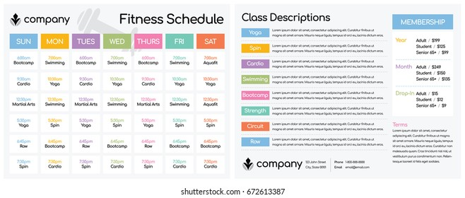Daily and Weekly Schedule for Classes at a Fitness Club Gym / Setup for a Double-Sided Letter Size Paper at 8.5 x 11""