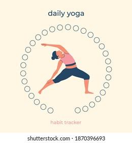 Daily yoga. 31 days of sports. Habit tracker. 31 days of yoga. Challenge tracker. Flat vector.