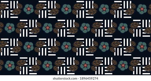 Dainty floral motif marine blue flower pattern conceptual geometric design. Minimalist monochromatic background simple geo allover print block for ladies dress fabric, apparel textile, fashion garment