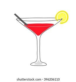 Daiquiri cocktail icon. The hand drawn style.