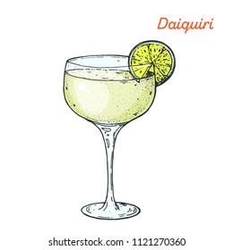 Daiquiri cocktail illustration. Alcoholic cocktails hand drawn vector illustration.
